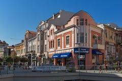Panorama da rua central Knyaz Alexander mim na cidade de Plovdiv, Bulgária Foto de Stock