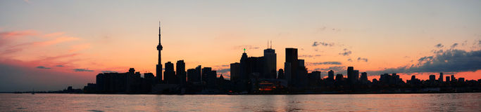 Panorama da silhueta de Toronto Fotografia de Stock Royalty Free