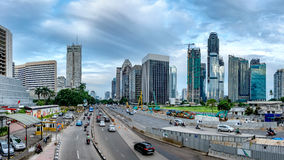 Panorama da skyline bonita de Jakarta, Indonésia imagem de stock royalty free