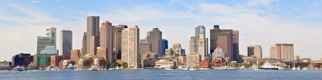 Panorama da skyline de Boston Foto de Stock Royalty Free