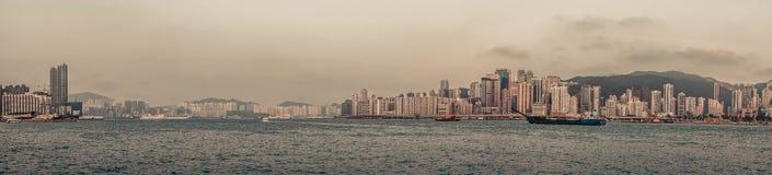 Panorama da skyline de Hong Kong Imagens de Stock