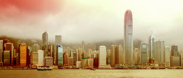 Panorama da skyline de Hong Kong fotos de stock royalty free