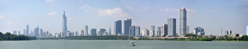 Panorama da skyline de Nanjing City, China Imagem de Stock Royalty Free