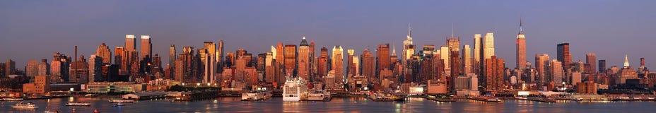 Panorama da skyline de New York City Manhattan Fotos de Stock Royalty Free