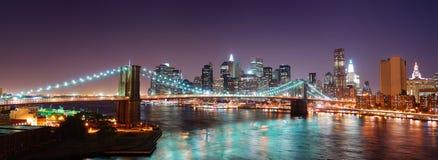 Panorama da skyline de New York City Manhattan imagens de stock
