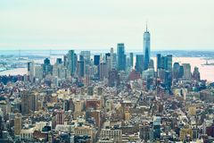 Panorama da skyline de New York, vista do centro de Rockefeller foto de stock royalty free