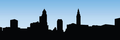 Panorama da skyline de XXL Cleveland ilustração stock