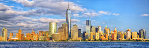 Panorama da skyline do Lower Manhattan Fotografia de Stock