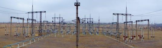 Panorama da subestação elétrica Fotos de Stock