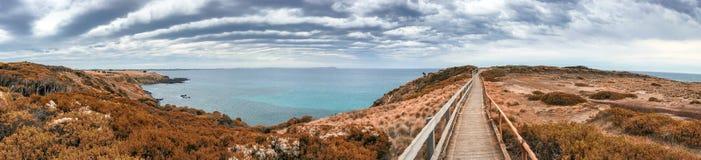 Panorama da vigia da rocha da pirâmide em Phillip Island - Victoria, Aust Fotografia de Stock