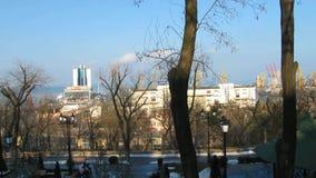 Panorama da vista do porto da cidade Cidade de Odessa cityscape video estoque