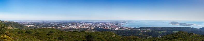 Panorama da vista geral de Setubal Fotografia de Stock Royalty Free