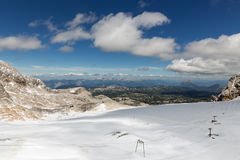 Panorama of Dachstein glacier in Austrian mountains Royalty Free Stock Image