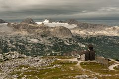 Panorama of Dachstein with glacier on a cloudy morning Stock Photos