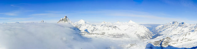 Panorama dal chilolitro Matterhorn Immagine Stock
