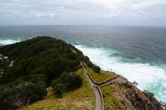 Panorama dal faro Capo Byron Il Nuovo Galles del Sud l'australia immagini stock libere da diritti