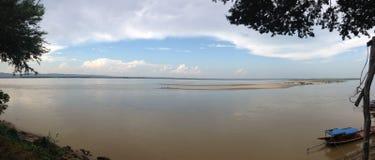 Panorama dal fiume di Irrawaddy fotografia stock