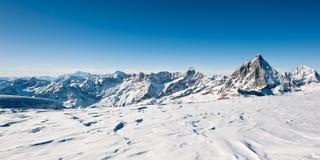 Panorama dal ghiacciaio al chilolitro. matterhorn Fotografia Stock