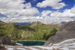 Panorama dal ghiacciaio di Marmolada Fotografia Stock Libera da Diritti