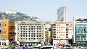 Panorama dal porto di Napoli Immagine Stock