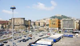 Panorama dal porto di Napoli Fotografia Stock Libera da Diritti