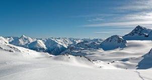 Panorama dalla cima del ghiacciaio di Thorens Immagini Stock