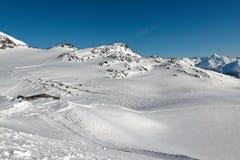 Panorama dalla cima del ghiacciaio di Thorens Immagine Stock