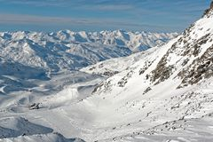 Panorama dalla cima del ghiacciaio di Thorens Fotografia Stock