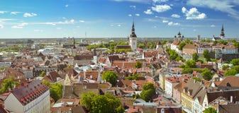 Panorama dalle altezze della città del giorno di estate soleggiato di Tallinn Immagini Stock Libere da Diritti