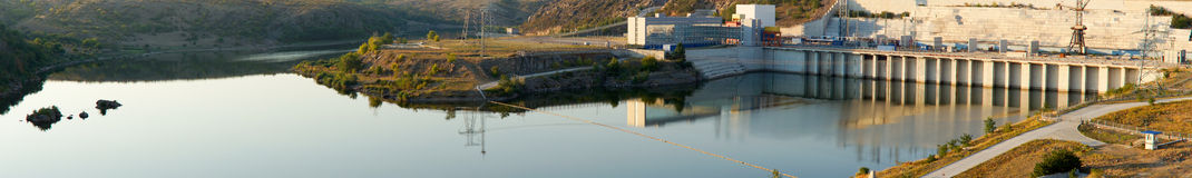 Panorama of a dam and wall Royalty Free Stock Photo