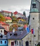 Panorama dans la ville de Banska Stiavnica, Slovaquie Images libres de droits