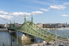 Panorama of Danube and Liberty Bridge or Freedom Bridge in Budapest, Hungary, connects Buda and Pest across the River Danube.  royalty free stock photo