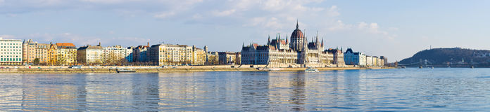 Panorama of Danube and Parliament in Budapest, Hungary Royalty Free Stock Photo