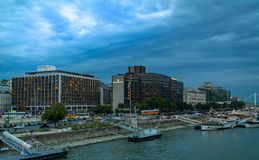 Panorama of the Danube river. View of Budapest. Old buildings of the Hungarian Parliament and medieval temples and buildings royalty free stock image