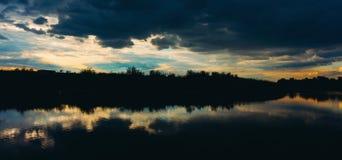 Panorama of dark skies over lake Royalty Free Stock Photo