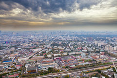 Panorama with dark yellow clouds under Moscow Stock Photos