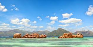 Panorama das ilhas de Seychelles Foto de Stock