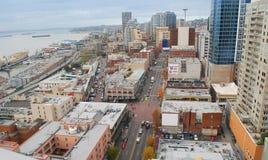 Panorama das ruas de Seattle. imagens de stock royalty free