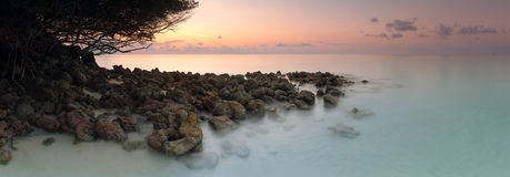 Panorama dawn landscape sea tropical island horizontal background stock image