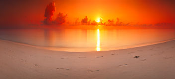 Panorama dawn landscape sea tropical Maldives horizontal background Stock Photos