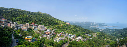 Panorama of the day scene town scenery in Jiufen,Taiwan. Stock Photos