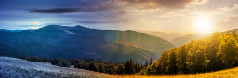 Panorama of a day to night change concept royalty free stock image