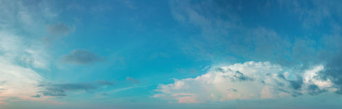 Panorama of the daytime sky with clouds Royalty Free Stock Image
