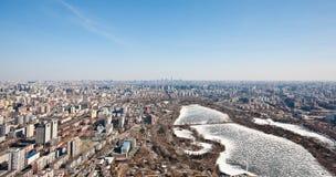 Panorama de Airview do Pequim, China Fotografia de Stock