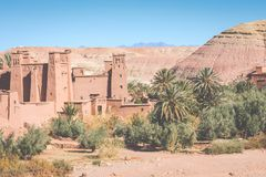 Panorama de Ait Ben Haddou Casbah perto da cidade de Ouarzazate em Morocc Fotografia de Stock