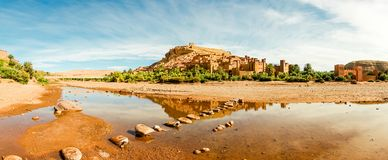 Panorama de Ait Benhaddou famoso, Marrocos Fotos de Stock Royalty Free