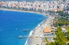 Panorama de Alanya de la playa Imágenes de archivo libres de regalías