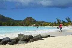 Panorama de Antigua de la playa Foto de archivo libre de regalías