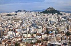 Panorama de Atenas do Acropolis em Greece imagens de stock