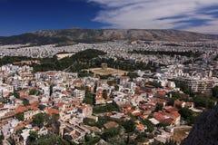 Panorama de Atenas en Grecia Foto de archivo libre de regalías